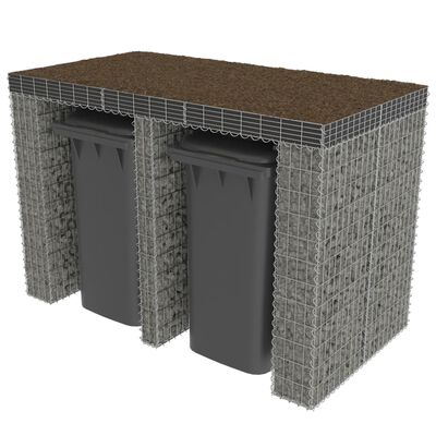 vidaXL horganyzott acél gabion fal szemeteskukákhoz 190 x 100 x 130 cm