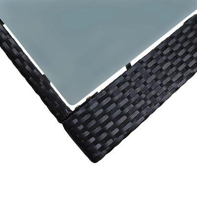 vidaXL 5 részes fekete polyrattan és üveg kültéri bárgarnitúra