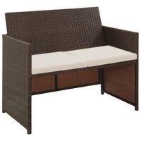 vidaXL barna kétszemélyes polyrattan kerti kanapé párnákkal