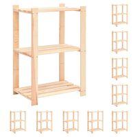 vidaXL 10 db 3-szintes tömör fenyőfa tárolópolc 150 kg 60 x 38 x 90 cm