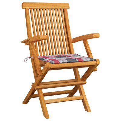 vidaXL 8 db tömör tíkfa kerti szék piros kockás párnával