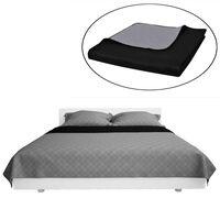 Kétoldalú vattázott ágytakaró 230 x 260 cm fekete/szürke