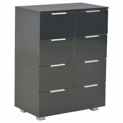vidaXL fekete magasfényű forgácslap tálalószekrény 60 x 35 x 76 cm