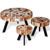 vidaXL 3-részes tömör újrahasznosított fa dohányzóasztal-garnitúra