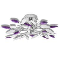 mennyezeti lámpa fehér és lila akril kristály levél karokkal 3 db E14 izzó