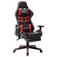 vidaXL fekete és piros műbőr gamer szék lábtámasszal