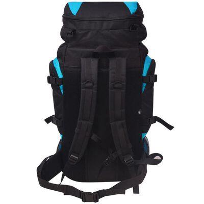 vidaXL XXL 75 L fekete és kék túra hátizsák