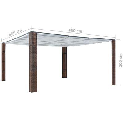 vidaXL barna és krémszínű polyrattan pavilon tetővel 400x400x200 cm