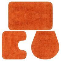 vidaXL 3 darabos narancssárga szövet fürdőszobaszőnyeg-garnitúra, Narancssárga