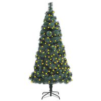 vidaXL zöld PET műkarácsonyfa LED-fényekkel és talppal 180 cm