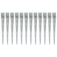 vidaXL 12 db ezüstszínű horganyzott acél kerítéstüske 10 x 10 x 91 cm