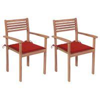 vidaXL 2 db tömör tíkfa kerti szék piros párnákkal