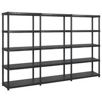 vidaXL fekete műanyag 5 szintes tárolópolc 274,5 x 45,7 x 185 cm