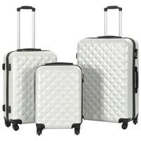 vidaXL 3 db fényes ezüstszínű keményfalú ABS gurulós bőrönd