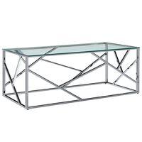 vidaXL edzett üveg és rozsdamentes acél dohányzóasztal 120x60x40 cm
