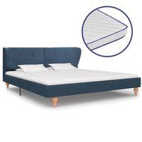vidaXL kék szövetágy memóriahabos matraccal 160 x 200 cm