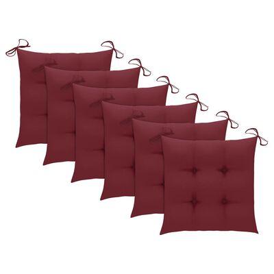vidaXL 6 db tömör tíkfa Batavia szék párnákkal