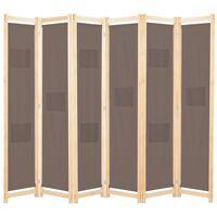 vidaXL barna 6-paneles szövetparaván 240 x 170 x 4 cm