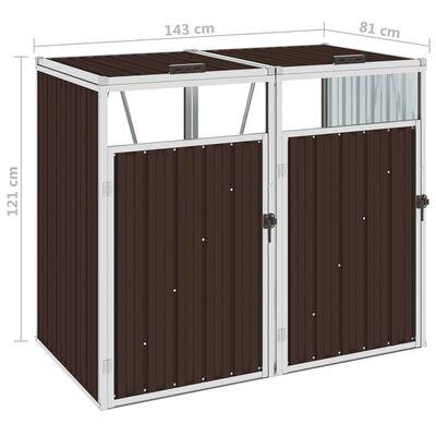 vidaXL barna acél kukatároló 2 db kukához 143 x 81 x 121 cm