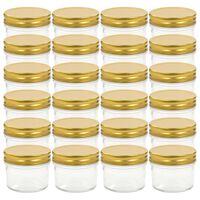 vidaXL 24 db 110 ml-es befőttesüveg aranyszínű tetővel
