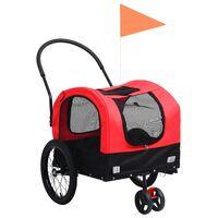 vidaXL piros/fekete 2 az 1-ben bicikliutánfutó és sétakocsi