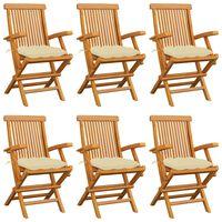 vidaXL 6 db tömör tíkfa kerti szék krémfehér párnával