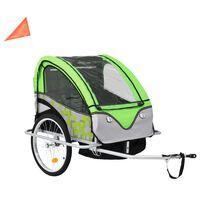 vidaXL 2 az 1-ben zöld/szürke kerékpár utánfutó és babakocsi