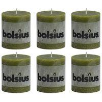 Bolsius 6 db olívazöld rusztikus oszlopgyertya 80 x 68 mm