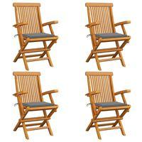 vidaXL 4 db tömör tíkfa kerti szék szürke párnával