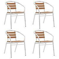 vidaXL 4 db ezüstszínű alumínium és WPC rakásolható kerti szék