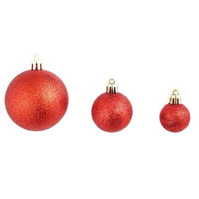 vidaXL 113 darabos piros karácsonyi gömb készlet 6 cm