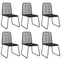vidaXL 6 db fekete polyrattan kültéri szék