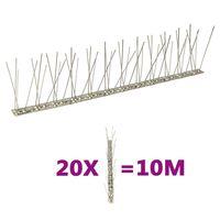 vidaXL 20 db 10 m-es kétsoros rozsdamentes acél madár- és galambtüske