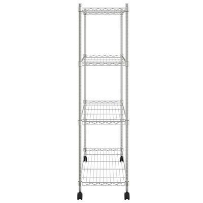 vidaXL 4 szintes króm tárolópolc kerekekkel 90 x 35 x 142 cm 200 kg