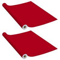 vidaXL 2 db piros öntapadó PVC ajtófólia 500 x 90 cm
