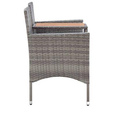 vidaXL kétszemélyes szürke polyrattan kerti pad teázóasztallal 143 cm