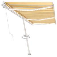 vidaXL sárga és fehér kézzel kihúzható LED-es napellenző 600 x 300 cm