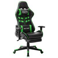 vidaXL fekete és zöld műbőr gamer szék lábtámasszal
