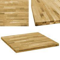 vidaXL négyzet alakú tömör tölgyfa asztallap 44 mm 70 x 70 cm
