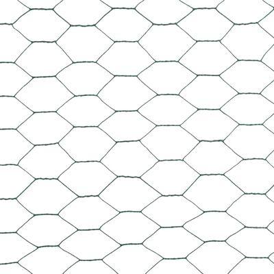 vidaXL zöld PVC-bevonatú acél csirkeháló drótkerítés 25 x 1,2 m