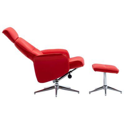 vidaXL piros műbőr dönthető fotel lábzsámollyal
