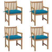 vidaXL 4 db tömör tíkfa kerti szék világoskék párnával