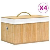 vidaXL 4 db bambusz tárolódoboz