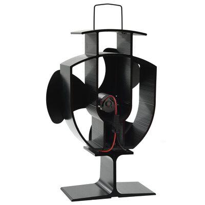 vidaXL fekete hővel meghajtott háromlapátos kandalló ventilátor
