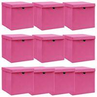 vidaXL 10 db rózsaszín szövet tárolódoboz fedéllel 32 x 32 x 32 cm