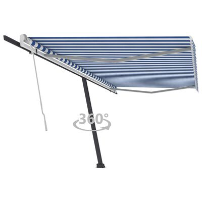 vidaXL kék-fehér kézzel kihúzható póznás napellenző 500 x 300 cm