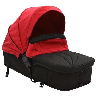 vidaXL piros és fekete 2 az 1-ben acél babakocsi/gyermekkocsi, Red