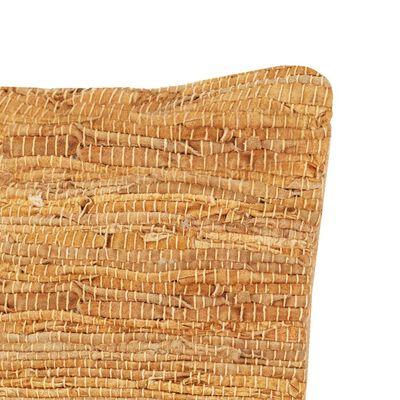 vidaXL sárgásbarna bőr és pamut chindi párna 60 x 60 cm