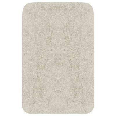 vidaXL 3 darabos fehér szövet fürdőszobaszőnyeg-garnitúra