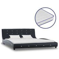 vidaXL fekete műbőr ágy memóriahabos matraccal 160 x 200 cm